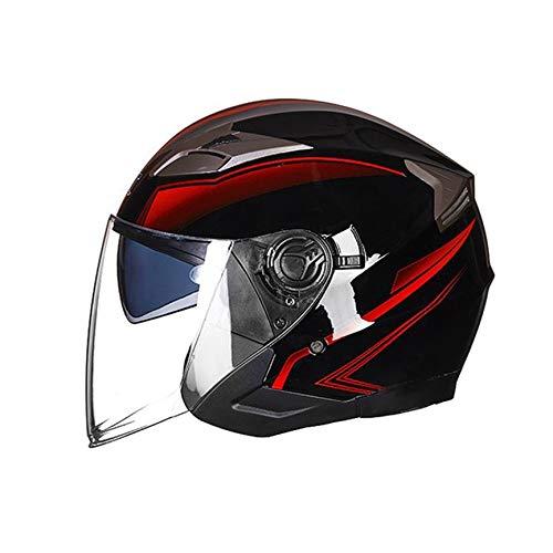 Peanutato Casco Moto Open Face Moto ciclomotore Jet Bobber Pilot Crash Chopper 3/4 Mezza Casco con Visiera Parasole per Uomini Adulti Donne