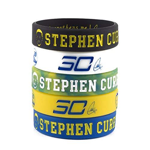 Lorh's store NBA Basket-Ball Stephen Curry Portrait Bracelet numéro 30 Silicone inspirant Mot Sport Bracelet 5 pcs