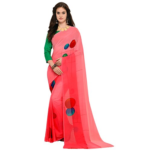 Oomph! Women's Georgette Printed Sarees - Tomato Red