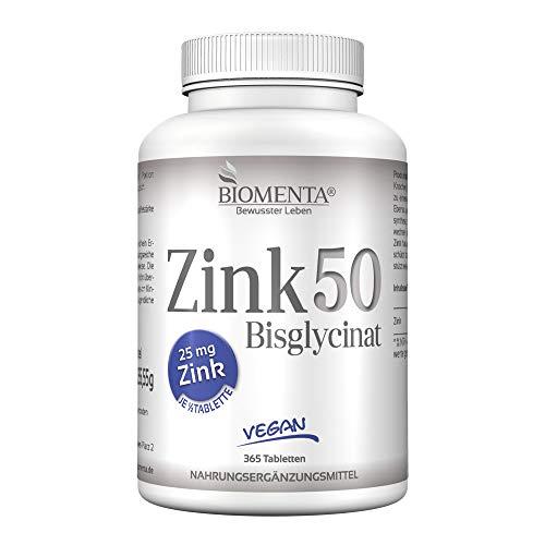 BIOMENTA ZINK 50 mg | AKTION!!! | Zink Bisglycinat | 365 VEGANE Zink-Tabletten | 25 mg Zink je ½ Tablette | Zink HOCHDOSIERT