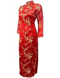 7Fairy Donna Rosso Matrimonio Cinese Abiti Cheongsam Floreale Maniche Lungo 3d8bc958094