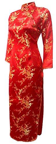 Gewand Kostüme Chinesische (7Fairy Damen Rot Hochzeit Chinesisch Kleid Cheongsam Blumen Lang Ärmel Größe De)