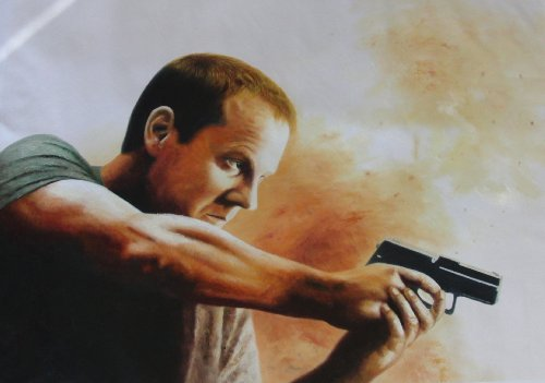 Click for larger image of 24 : Jack Bauer Oil Painting.  40x28 Our second painting based on the hero of the hit series 24.  This is a hand painted piece of art, NOT a giclee/poster or cheaply printed canvas.  Also available re