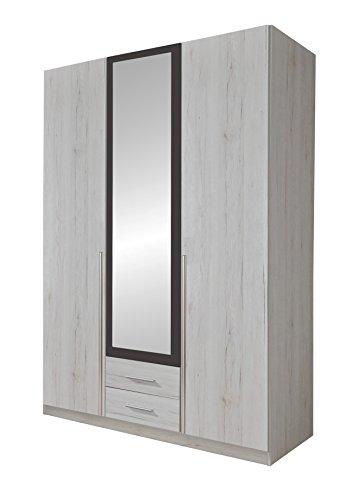 Wimex 245484 Drehtürenschrank, Holz, weißeiche/lavafarbig, 58 x 135 x 198 cm