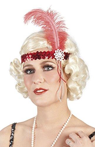 Faschingsfete Damen Haarband mit Pailletten, Feder und Perlen, Rot