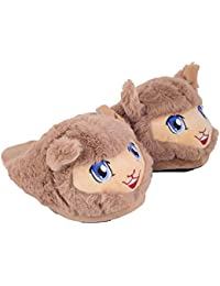 Crya Kid's Plush Fur Cartoon Slipper Unisex - One Size (Euro 32, Suitable for 5-9 Years, Brown)