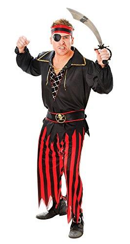 Piraten Mann See Kostüm Hoher - Bristol Novelty AC026 Pirat Kostüm für Männer, Rot