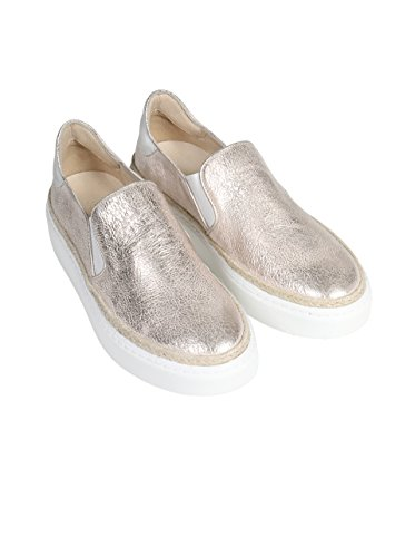 JANET & JANET Damen Slipper Paka in Metall-Rose platino / platino