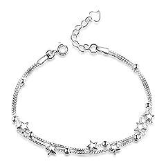 Idea Regalo - Braccialetto 925 da donna argento Sterling con catenina a maglia quadrata e con perline e stelline, a più fili, idea regalo