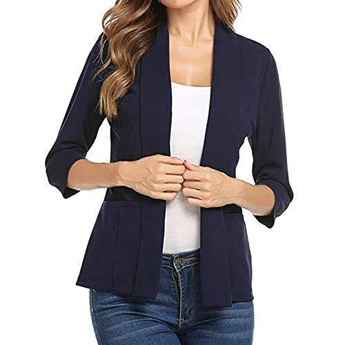 Casual UFACE Trend 2019 Winter Damen Oberteile,Shirts Tee Bestickt Frau Mini-Anzug Lässige 3/4 Ärmel Open Front Work Office Blazer Jacke BK/L -