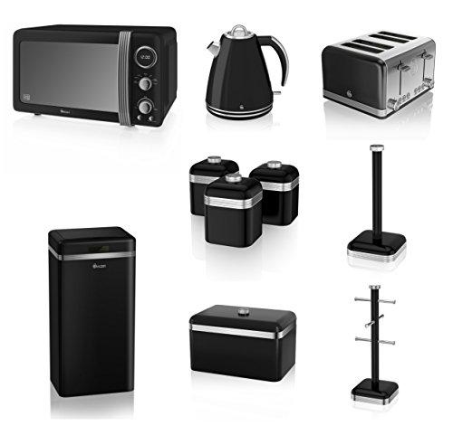 Swan Black Kitchen Appliance Retro Set Of 10 - Black Retro Digital Microwave, 20 Litre, 800 Watt, 1.5 Litre Jug Kettle & Retro Stylish 4 Slice Toaster Retro Breadbin, 3 Canisters, Towel Pole, 6 Mug Tree And Sensor Rubbish Bin Set