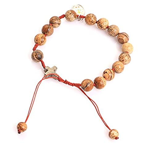 Mala Anglican Muslim Catholic Christian Episcopal Prayer Rosary Beads Bracelet for Men 7'' Handmade (Picture Jasper)