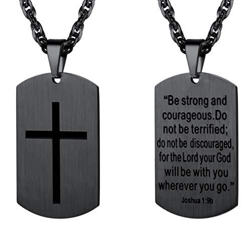 PROSTEEL Halskette schwarz Metall Dog Tag Erkennungsmarke für Männer Gravur Kreuz und Vers von Josua 1:9b Modeschmuck Geschenk für Jungen Herren