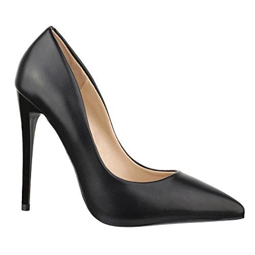 Elara Damen Pumps Spitz | Moderne High Heels | Bequeme Stilettos | Chunkyrayan B-21 Black-37