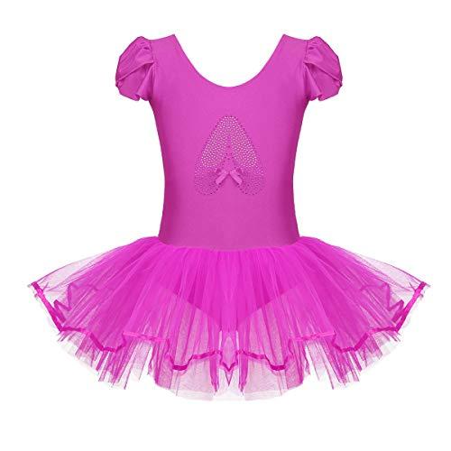 Kostüm Modell Tanz - Tiaobug Kinder Ballettkleidung - 3 Modells - Mädchen Ballettkleid Kurzarm Ballettanzug mit Ballett Tutu Tütü und Innenslip Shorts Kostüm Outfit Gr.92-128 Rose Rot 110-116