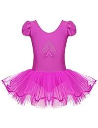 dPois Vestido de Danza Lentejuelas Niña Ropa de Ballet Maillot Leotardo con  Falda Gimnasia Tutu de Fiesta Maillot Manga Corta para Niña Ballet… 8281cf791c8