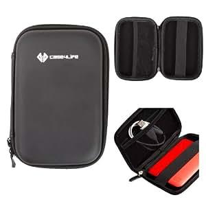 Case4Life Noir Résistant aux chocs housse Étui pour disque 2,5 pouces dur portable pour Toshiba STOR.E Basic / Steel / Canvio / Partner / ALU / Slim 500Go / 1To / 1.5To / 2To - garantie à vie