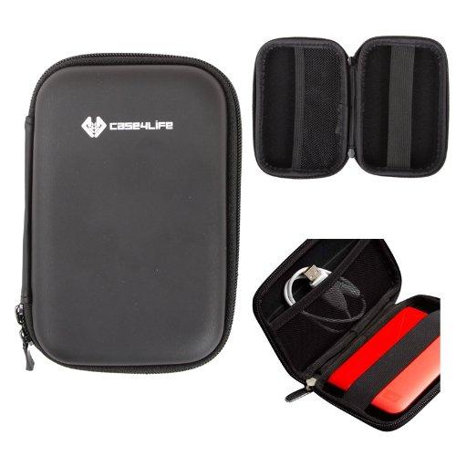 "Case4Life Noir 2,5"" rigide housse Étui disque dur externe pour Toshiba STOR.E Canvio Basics/Steel / Partner/ALU / 500Go / 1To / 1.5To / 2To - garantie à vie"