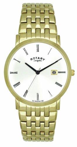 Rotary GB02624/01 - Reloj para hombres, correa de acero inoxidable color dorado