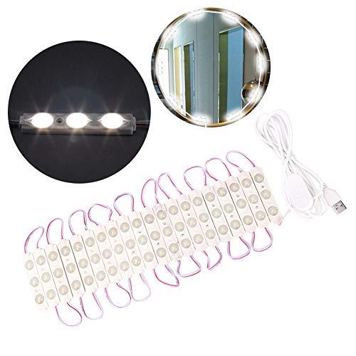 LED Kosmetikspiegel Lichter Dimmbare Lampe Lichterkette Badezimmerlampe DIY Vanity Lights Strip Kit Leuchte Streifen mit 60 Lampen für Kosmetikspiegel Badezimmer Frisiertisch Schlafzimmer -