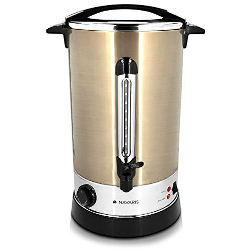 Navaris Glühweinkocher Heißwasserspender aus Edelstahl - 20l - mit Thermostat Füllstandanzeige Zapfhahn - Glühwein Heißgetränkeautomat Kupfer
