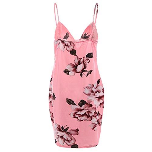 MIOIM Sexy Femmes Robe d'été Bandage Bodycon Soirée Cocktail Mini Dress Courte Col V Casual Sans Manches Rose
