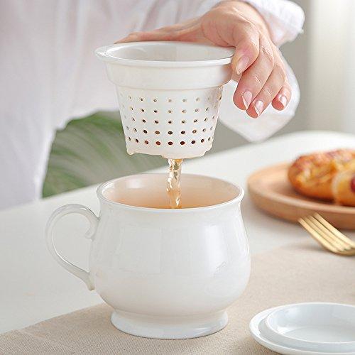 TAMUME 400ML Tasse à Thé en Porcelaine Blanche avec Passoire à Thé en Porcelaine et Couvercle Plat