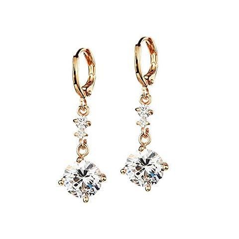 [M.JVisun] Women Tassels Inlaid 3A Rhinestone Gold Plated Dangle Earrings Lever Back Drop Earrings,