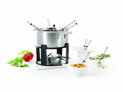 Verso Juego de fondue y accesorios (19 piezas: bandeja, base, hornillo, quemador, recipiente para la fondue con soporte para tenedores, 4 cuencos, 4 cucharas y 6 tenedores)
