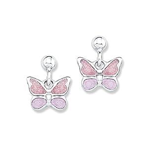Prinzessin Lillifee Kinder-Ohrstecker Mädchen 925 Silber Schmetterlinge Emaille rosa