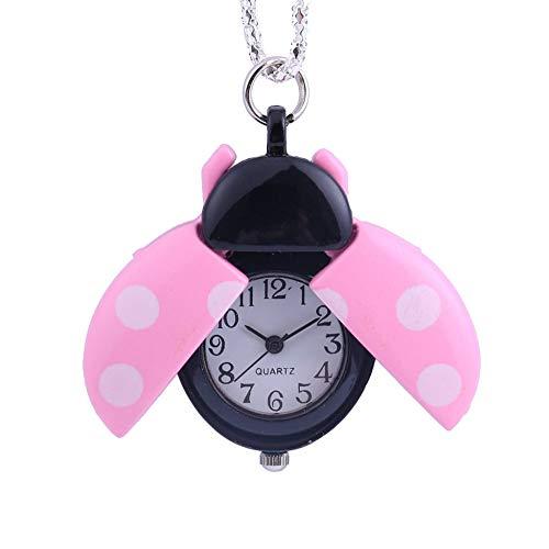 HBDML Taschenuhr Europäischen und amerikanischen Schmuck Kleine Sieben-Sterne-Marienkäfer Taschenuhr Mann Frau Kind Geschenk Halskette Uhr Paar Alter Mann-Pulver