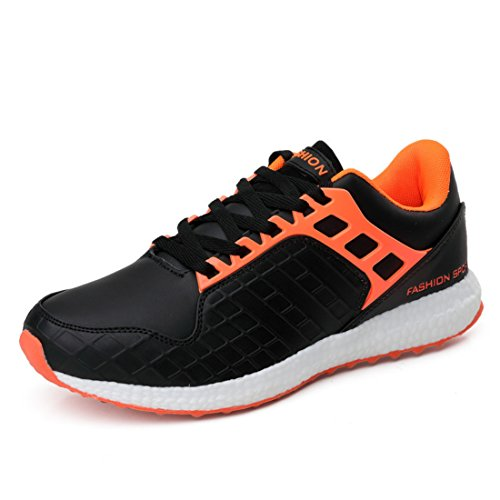 Men's Flats Flexibility Lace Up Athletic Outdoor Running Shoes Blkorange