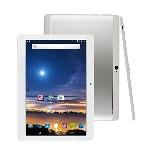 Fonxa 10 Zoll (10.1″) Tablet PC, with Protect Case, 2GB RAM+32GB ROM, Dual SIM, 2017 New Metal Shell Design, 1280×800 HD screen, Silber