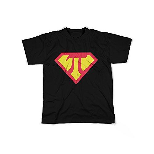 Männer T-Shirt mit Aufdruck in Schwarz Gr. XXL PI Superheld Logo Design Boy Top Jungs Shirt Herren Basic 100% Baumwolle Kurzarm