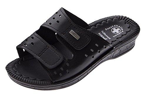 Damen Clogs Schwarz Pantoletten Gel Effekt Latschen Gesundheits Schuh Antibakteriell Sandalette Gr. 37