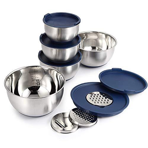 Mari Chef Set 5 Ciotole Acciaio Inox | Insalatiere 1L, 2L, 2.5L, 3L, 4.5L | Contenitore Con Grattugia, Base E Coperchi In Silicone Antiscivolo | Perfetto Per Cuocere, Preparare Insalate E Conservare