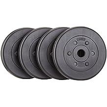ScSPORTS HS049 - Pesi in plastica con foro da 30 mm, 4 x 5 kg, colore: Nero - Rotazione Disco