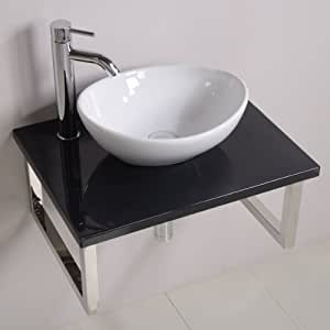 600 meuble lavabo avec vasque pour salle de bain toilettes ensuite tag re murale de luxe noir. Black Bedroom Furniture Sets. Home Design Ideas