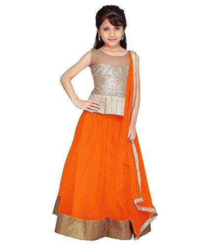 Clickedia Kids wear Girls Orange Net Lehenga Choli/ Chaniya Choli with Gota patti for Festive???? Diwali and wedding - traditional wear ( 8-12 yrs)- Semi-Stitched alterable  available at amazon for Rs.279