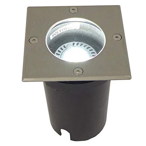 Bodeneinbaustrahler LED, 10x Bodenleuchte mit GU10 Fassung mit 5 Watt LED Leuchtmittel, Lichtfarbe: kaltweiss (1er bis 10er Set), 230V, Bodeneinbauleuchte mit Edelstahl Abdeckring Quadrat. IP67. Bodenlampe inklusive klarer und satinierter Glasabdeckung. (10er Set mit 5 Watt LED kaltweiss)