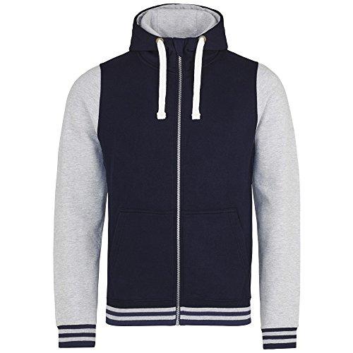 AWDis Just Hoods - Giacca Tipo College con Cappuccio - Uomo Blu Oxford/Grigio Erica
