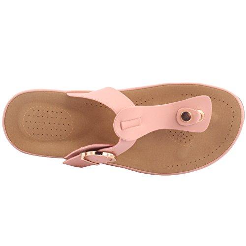 Unze New Women 'Bambi' Toe Post Summer Beach School Carnaval Casual Chaussons Pantoufles Taille UK 3-8 Rose