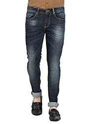 Spykar Mens Dark Blue Super Skinny Fit Low Rise Jeans (34)