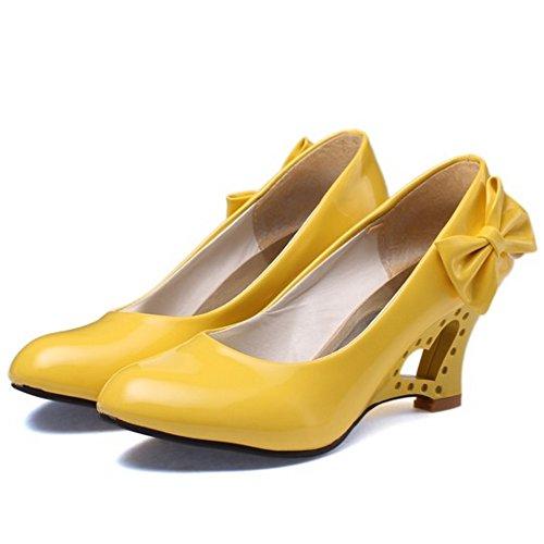 TAOFFEN Femmes Mode Compense Escarpins A Enfiler Chaussures Bowknot Jaune