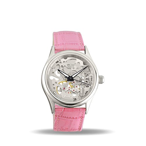 Davis 1680P - Womens Skeleton Watch Hand wind Mechanical Movement Pink leather Strap
