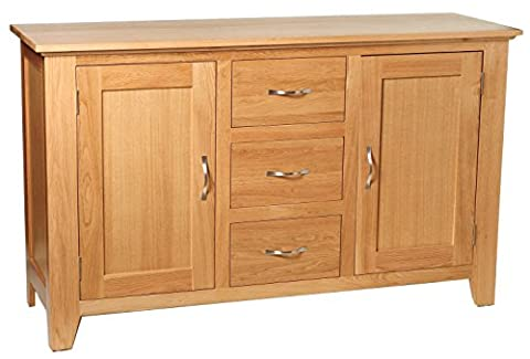 Camberley Oak 2 Door 3 Drawer Large Sideboard with Light Oak Finish| Wide Wooden Storage Cupboard | Cabinet with flexible