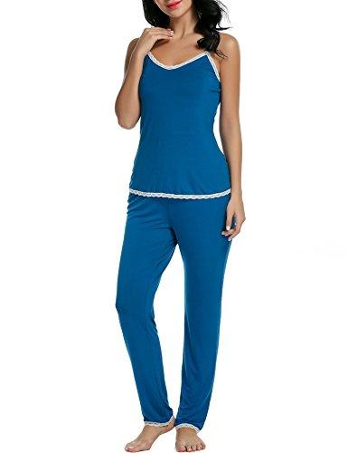 Avidlove Damen Schlafanzug Ärmellos Pyjama Set Spitzenbesatz Zweiteilige Nachtwäsche Langhose Und Top Blau