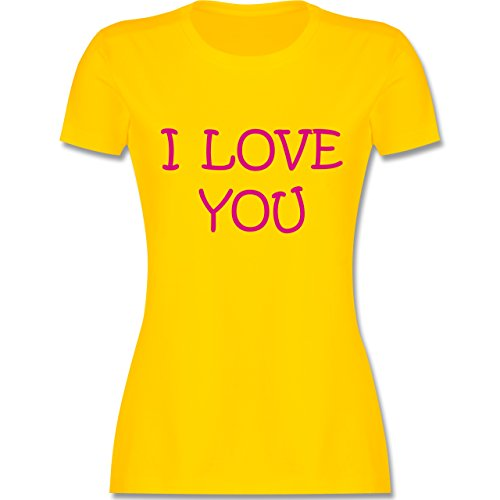 Valentinstag - I Love You - tailliertes Premium T-Shirt mit Rundhalsausschnitt für Damen Gelb