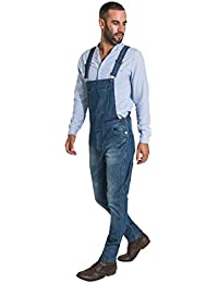50aeb2d25a83 Uskees Toby Slim Fit Mens Dungarees - Vintage Wash Fashion Bib Overalls  TOBY2VINTAGE Blue