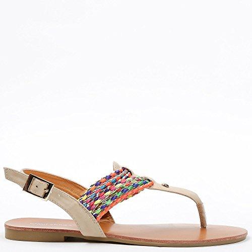 Ideal ShoesMaiane Sandale, flach, mit geflochtenen Riemen, bunt Beige